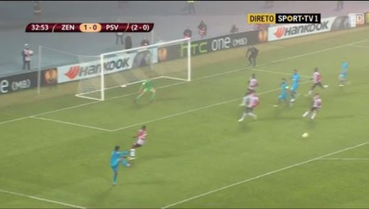 Hulk takes shot at goal during Zenit St Petersburg's Europa League game against PSV, ball goes out for a throw-in