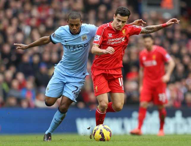 Fernandinho insists there was no 'bust-up' with Manchester City captain Vincent Kompany during Liverpool defeat