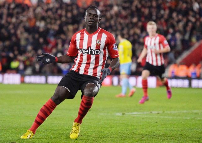 """Football - Southampton v Crystal Palace - Barclays Premier League - St Mary's Stadium - 3/3/15 Southampton's Sadio Mane celebrates scoring their first goal Action Images via Reuters / Tony O'Brien Livepic EDITORIAL USE ONLY. No use with unauthorized audio, video, data, fixture lists, club/league logos or """"live"""" services. Online in-match use limited to 45 images, no video emulation. No use in betting, games or single club/league/player publications. Please contact your account representative for further details. Tony O'Brien/Reuters"""