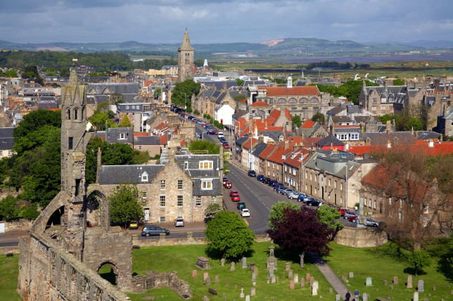 View over St Andrews town and Cathedral ruins, SCOTLAND