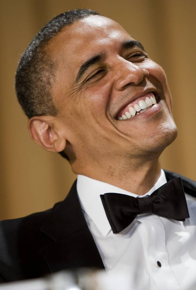 WASHINGTON, DC - APRIL 28: (AFP OUT)  U.S. President Barack Obama laughs during the 2012 White House Correspondents' Association Dinner held at the Washington Hilton on April 28, 2012 in Washington, DC. This was the 98th annual dinner and was hosted by Jimmy Kimmel. (Photo by Kristoffer Tripplaar-Pool/Getty Images)