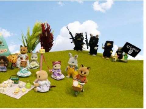 An artist called Mimsy is using Sylvanian Family toys to mock ISIS