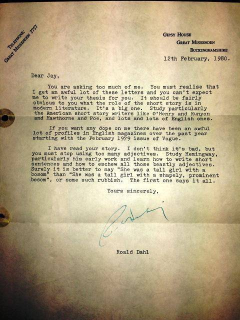 Aspiring writer asks Roald Dahl for advice - he didn't expect this response Credit: Jay Williams/ Twitter