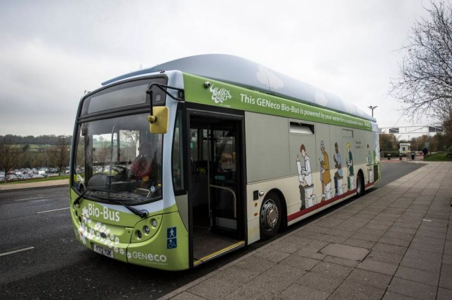 """File photo dated 20/11/14 of Britain's first """"poo bus"""", which runs on human and household waste and is due to go into regular service later this month. PRESS ASSOCIATION Photo. Issue date: Sunday March 15, 2015. Powered by biomethane gas, the Bio-Bus will use waste from more than 32,000 households along its 15-mile route. Operated by bus company First West of England, the bus will fill up at a site in Avonmouth, Bristol, where sewage and inedible food waste is turned into biomethane gas. The bus, which can seat up to 40 people, was unveiled in the Bristol area last autumn. Transport company First is showing off the bus in Bristol on Tuesday and it will operate four days a week on Service 2, which stretches from Cribbs Causeway to Stockwood, from March 25. If the route proves a success, First will consider introducing more """"poo buses"""". First West of England managing director James Freeman said: """"Since its original unveiling last year the Bio-Bus has generated worldwide attention and so it's our great privilege to bring it to the city, to operate - quite rightly - on Service 2. See PA story TRANSPORT Waste. Photo credit should read: Ben Birchall/PA Wire"""