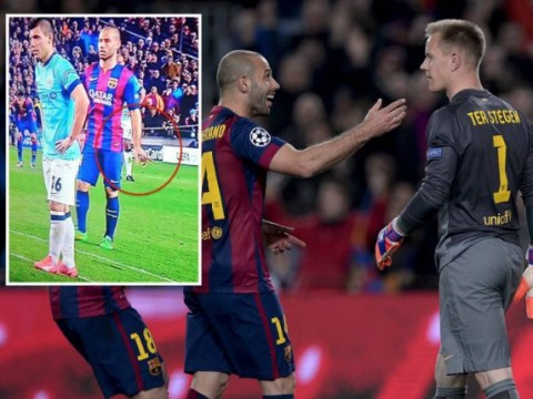 Javier Mascherano tells Barcelona goalkeeper Marc-Andre ter Stegen which way to dive to save Sergio Aguero's penalty