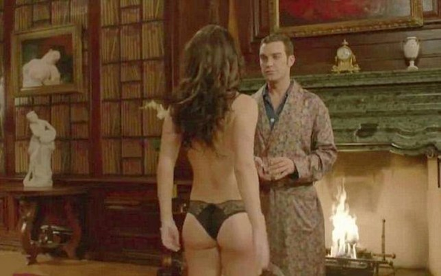 Elizabeth Hurley, 49, displays pert bottom as she strips down to skimpy lingerie in her new TV Show The Royals. 23 March 2015. Please byline: Supplied by Vantage News Vantage News does not claim any copyright or licence in the attached material any  downloading fees charged by Vantage News are for Vantage News services only, and do not, nor are they intended to, convey to the user any copyright or licence in the material. By publishing the material, the user expressly agrees to indemnify and to hold Vantage News harmless from any claims, demands, or causes of action arising out of or connected in any way with user's publication of the material.