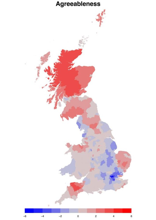 """Positive number / colour on the scale represent most and negative number / colour on the scale represent least.  Researchers at Cambridge University have formulated a new personality test and found SCOTS are the most friendly nation.  See MASONS story MNTEST.  A survey of almost 400,000 Brits has highlighted significant differences in personalities between the regions. Two thirds of the participants were women with samples taken from across England, Wales and Scotland.  The self-selecting online test looked at five personality traits including extraversion, agreeableness, conscientiousness, emotional stability and openness.  It found that 'agreeable' regions tended to have higher proportions of females, married couples, low-income residents and lower rates of violent crime.  Scotland was found to be at the top of the category but contrasted with London where residents were more likely to be """"uncooperative, quarrelsome and irritable""""."""