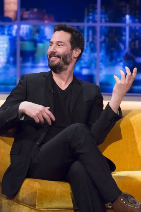 *****EMBARGO*****NOT FOR PUBLCIATION BEFORE 00.01hrs SATURDAY.28th MARCH 2015.*****EDITORIAL USE ONLY / NO MERCHANDISING  Mandatory Credit: Photo by Brian J Ritchie/Hotsauce/REX (4588328av)  Keanu Reeves  'The Jonathan Ross Show' TV Programme, London, Britain. - 28 Mar 2015