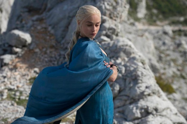 """Television Programme: Game of Thrones with Emilia Clarke as Daenerys Targaryen.   Season 4, Sky Atlantic HD Episode 1 """"Two Swords"""" in Game of Thrones HBO"""