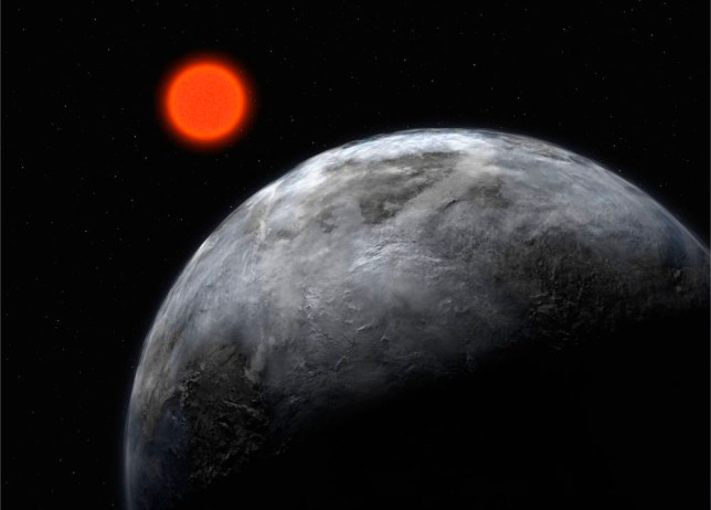 In this artist's impression supplied by the ESO (European Southern Observatory) on April 25, 2007, the planetary system around the red dwarf, Gliese 581, is pictured showing what astronomers believe is the most earth like planet found outside our solar system to date.  Using the ESO 3.6-m telescope in Chile, astronomers have uncovered the planet which could have water running on its surface. The planet orbits the faint star Gliese 581, which is 20.5 light-years away in the constellation Libra.    (Photo by ESO via Getty Images) *** Local Caption *** IN SPACE - APRIL 25