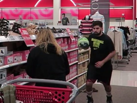 Boyfriend livens up shopping trip by turning it into one giant game of basketball