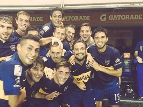 Dani Osvaldo celebrates first Boca Juniors goal with brilliant team photo