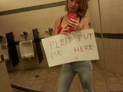 A transgender woman is taking selfies in men's bathrooms to protest against a controversial law change