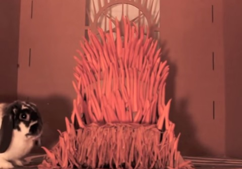 Someone built the Game Of Thrones Iron throne out of carrots for their pet rabbit