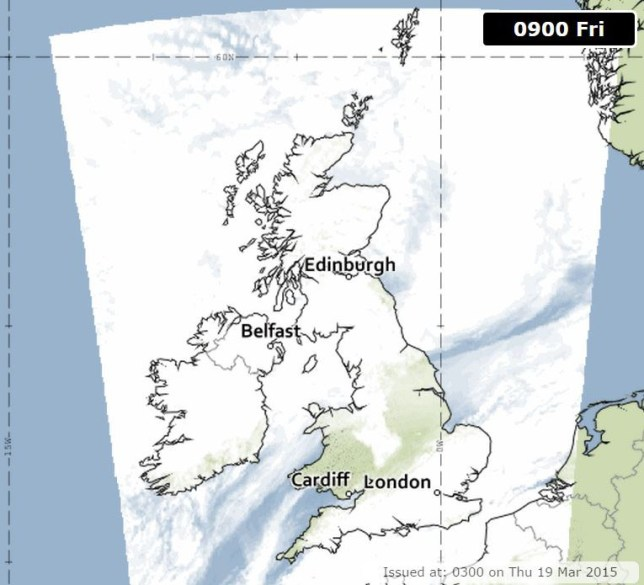 Cloud Cover predictions for the solar eclipse (Picture: Met Office)