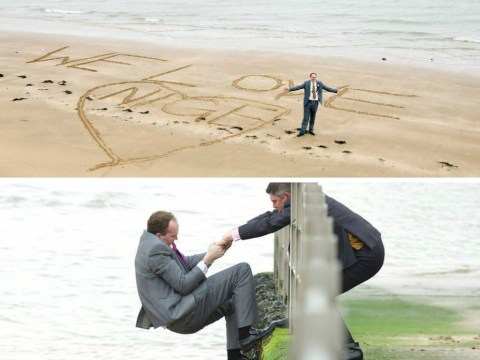 Oops: Ukip candidate caught out writing 'We love Nige' in the sand