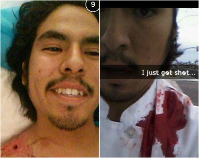 Isaac Martinez took a couple of selfies after being shot (Picture: Isaac Martinez)