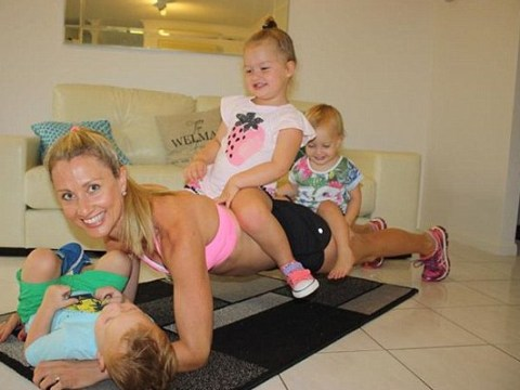 Super-fit mum-of-three shows motherhood is all about balance. Literally.