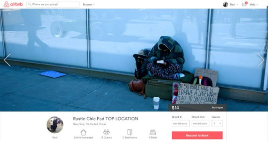 An Airbnb homeless posting