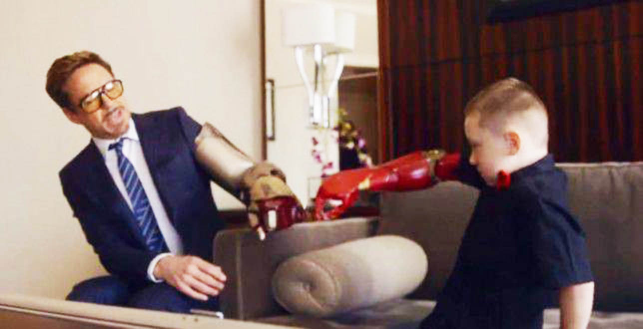 Robert Downey Jr presents fan with Iron Man prosthetic arm