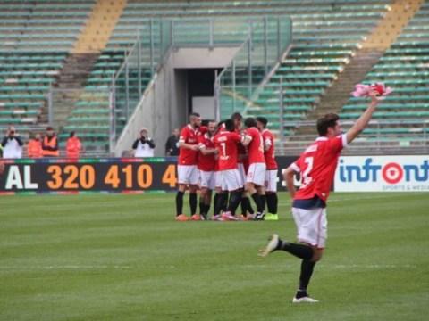 Bari defender Stefano Sabelli celebrates goal with Peppa Pig doll