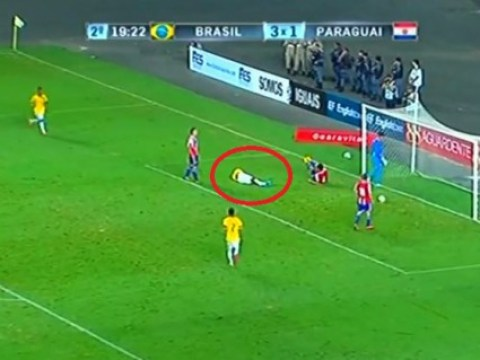 Benfica star Anderson Talisca gets knocked out while scoring header in Brazil U23's win over Paraguay