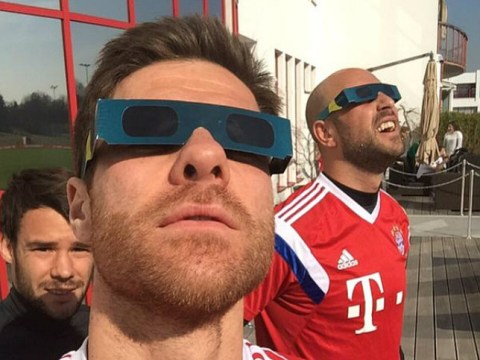 Bayern Munich stars Xabi Alonso and Pepe Reina rock solar eclipse shades