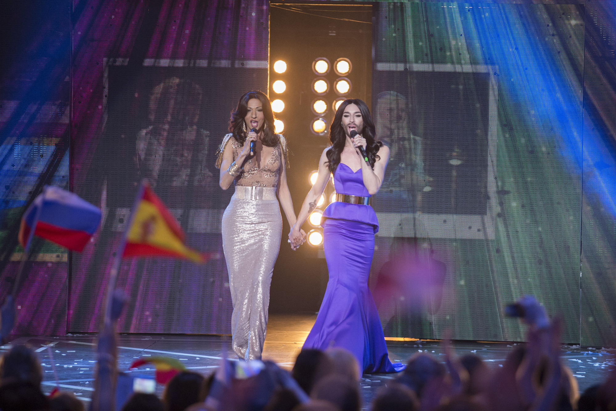 Conchita Wurst and Dana International held hands at the Eurovision anniversary concert – and it was an awesome moment