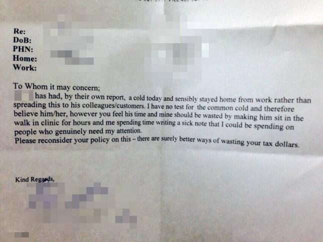 Best Doctors sick note ever