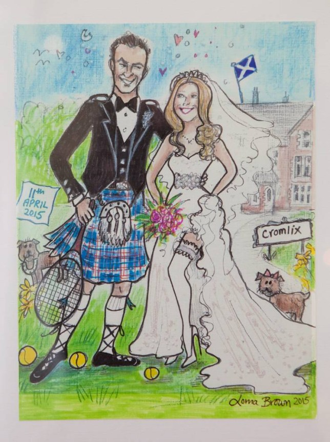 A cartoon of Andy and Kim which was a card made for the couple by Lorna Browne, as the town of Dunblane start making preparations for the wedding of local tennis star Andy Murray to Kim Sears which is to take place at Dunblane Cathedral on Saturday. April 7 2015