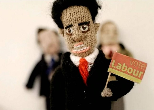 Ed Miliband. The country's political leaders have been recreated in a woolly form - after a dedicated knitter created versions of them. See MASONS story MNKNIT. Pat Wilson, 57, has knitted versions of candidates in her local elections after they posted leaflets through her door - as well as the leaders of main political parties. Pat, from Deal, Kent, knitted Dover and Deal Conservative candidate Charlie Elphicke and Labour candidate Clair Hawkins after receiving leaflets through her door. The website developer has also knitted the leaders of the main political parties including Prime Minister David Cameron, Labourís Ed Miliband, Lib Demís Nick Clegg, Ukipís Nigel Farage and Green leader Natalie Bennett.