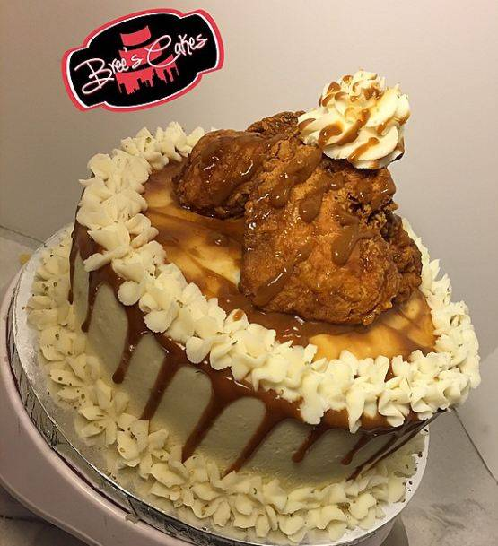 Bree of Brees Cakes has made a cake from mash potato and corbread - filled mac and cheese and candied yams and topped with fried chicken. Credit: Brees Cakes Link back: http://www.breescakes.com/
