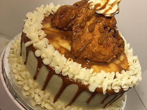 This cake is made of fried chicken, mashed potato and loads of other crazy stuff