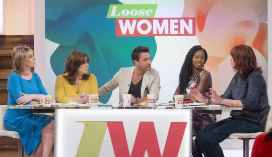 EDITORIAL USE ONLY. NO MERCHANDISINGnMandatory Credit: Photo by ITV/REX Shutterstock (4691181h)nRuth Langsford, Coleen Nolan, Gino D'ACampo, Jamelia and Janet Street-Portern'Loose Women' TV programme, London, Britain. - 21 Apr 2015nn
