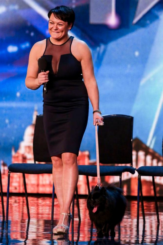 MANDATORY CREDIT REQUIRED: SYCO/THAMES TV Embargoed to 0001 Saturday April 25 Undated ITV handout photo of Krystyna Lennon and her dog Princess, during the audition stage of ITV1 talent show, Britain's Got Talent. PRESS ASSOCIATION Photo. Issue date: Saturday April 25, 2015. See PA story SHOWBIZ Talent. Photo credit should read: Tom Dymond/SYCO/THAMES TV/PA Wire NOTE TO EDITORS: This handout photo may only be used in for editorial reporting purposes for the contemporaneous illustration of events, things or the people in the image or facts mentioned in the caption. Reuse of the picture may require further permission from the copyright holder.