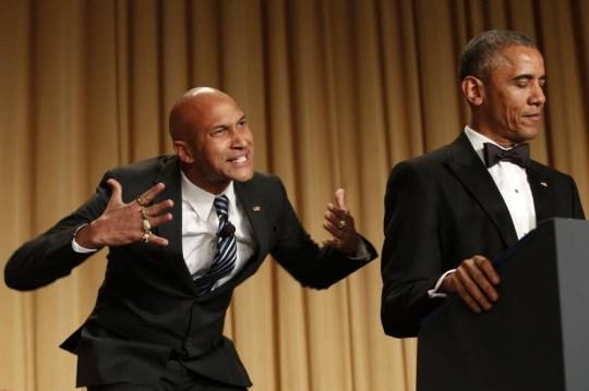 US President Barack Obama speaks next comedian Keegan-Michael Key playing 'Luther, Obama's anger translator' at the White House Correspondents Association Dinner in Washington, DC on April 25, 2015. AFP PHOTO/YURI GRIPASYURI GRIPAS/AFP/Getty Images