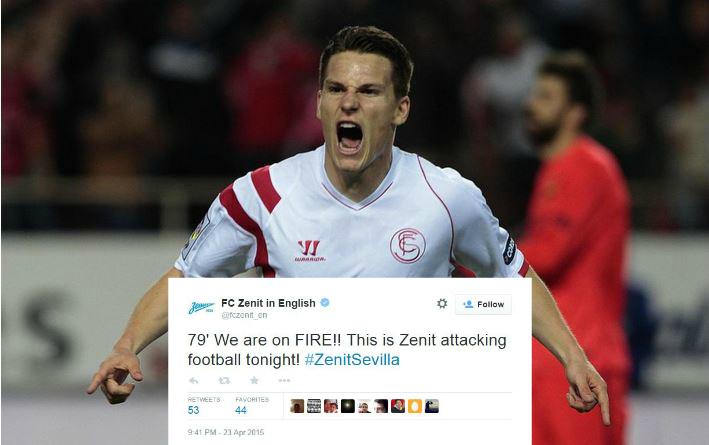 Zenit St Petersburg jump the gun on Twitter after Hulk stunner – minutes before Sevilla's Europa League winner