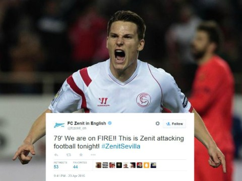 Zenit St Petersburg jump the gun on Twitter after Hulk stunner – minutes before Sevilla's Europa League winner