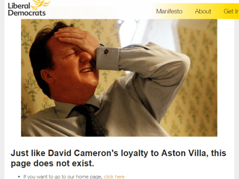 The Lib Dem website's 404 page is actually quite witty
