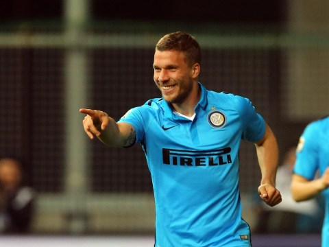 Lukas Podolski scores first goal for Inter Milan since loan transfer from Arsenal – and it's a stunner
