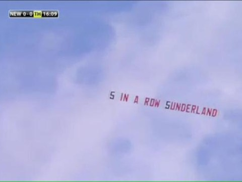 Sunderland fans troll Newcastle by flying 'five in a row' derby banner over St James' Park