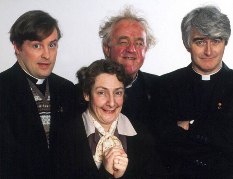TELEVISION PROGRAMME 'FATHER TED II'. FATHER TED II FATHERS - Dougal (Ardal O'Hanlon), Jack (Frank Kelly) and Ted (Dermot Morgan) (1952-1998) with Pauline McLynn as Mrs Doyle. This picture may be used solely for Channel 4 programme publicity purposes in connection with the current broadcast of the programme(s) featured in the national and local press and listings. Not to be reproduced or redistributed for any use or in any medium not set out above (including the internet or other electronic form) without the prior written consent of Channel 4 Picture Publicity 020 7306 8685