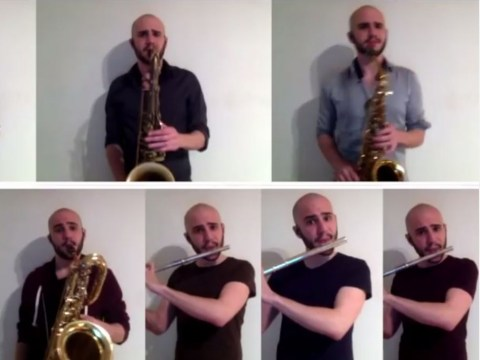 This guy's beatboxing flute and sax cover of Uptown Funk is one of the best yet