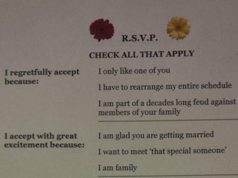 This unconventional wedding invite ensures that you'll get your perfect day