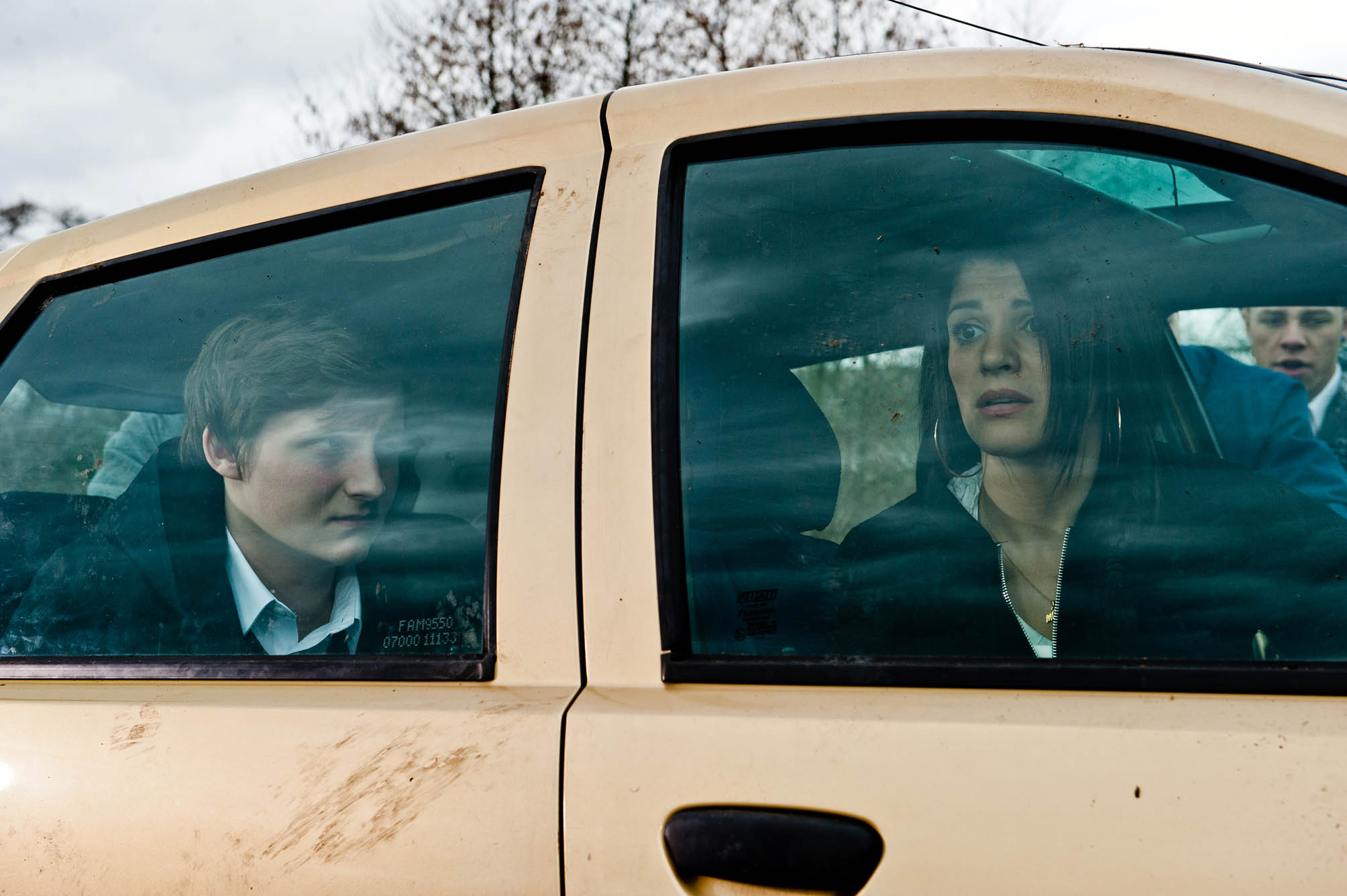 FROM ITV STRICT EMBARGO -TV Listings Magazines & websites Tuesday 5 May 2015, Newspapers Saturday 9 May 2015  Emmerdale - Ep 7181 Wednesday 13th May 2015 Alicia Metcalfe [NATALIE ANDERSON] calls the police as the lads throw stones at the car with her and Lachlan White [THOMAS ATKINSON] trapped inside. Picture contact: david.crook@itv.com on 0161 952 6214 Photographer - Amy Brammall This photograph is (C) ITV Plc and can only be reproduced for editorial purposes directly in connection with the programme or event mentioned above, or ITV plc. Once made available by ITV plc Picture Desk, this photograph can be reproduced once only up until the transmission [TX] date and no reproduction fee will be charged. Any subsequent usage may incur a fee. This photograph must not be manipulated [excluding basic cropping] in a manner which alters the visual appearance of the person photographed deemed detrimental or inappropriate by ITV plc Picture Desk. This photograph must not be syndicated to any other company, publication or website, or permanently archived, without the express written permission of ITV Plc Picture Desk. Full Terms and conditions are available on the website www.itvpictures.com
