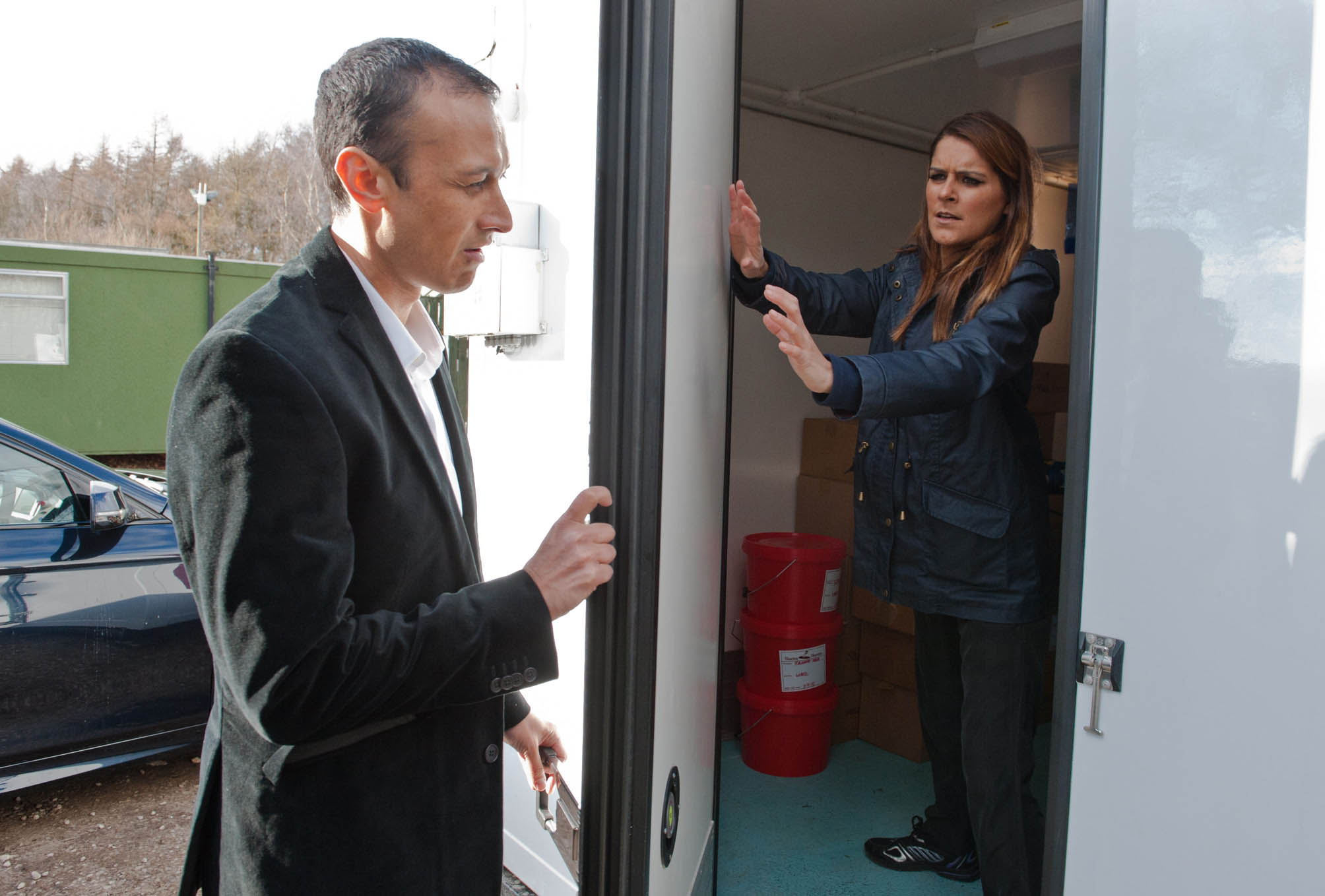 FROM ITV STRICT EMBARGO -TV Listings Magazines & websites Tuesday 12 May 2015, Newspapers Saturday 16 May 2015  Emmerdale - Ep 7185  Monday 18 May 2015   Jai Sharma [CHRIS BISSON] forces Rachel Breckle [GEMMA OATEN]to go to the factory with him, saying there's a problem but Sam is wary. At the factory, Rachel  tells Jai she wants full control of Archie's life, lying she's prepared to sacrifice Sam if necessary. But a composed Jai takes Rachel by surprise and soon she is trapped, alone and screaming… Picture contact: david.crook@itv.com on 0161 952 6214 Photographer - Amy Brammall This photograph is (C) ITV Plc and can only be reproduced for editorial purposes directly in connection with the programme or event mentioned above, or ITV plc. Once made available by ITV plc Picture Desk, this photograph can be reproduced once only up until the transmission [TX] date and no reproduction fee will be charged. Any subsequent usage may incur a fee. This photograph must not be manipulated [excluding basic cropping] in a manner which alters the visual appearance of the person photographed deemed detrimental or inappropriate by ITV plc Picture Desk. This photograph must not be syndicated to any other company, publication or website, or permanently archived, without the express written permission of ITV Plc Picture Desk. Full Terms and conditions are available on the website www.itvpictures.com