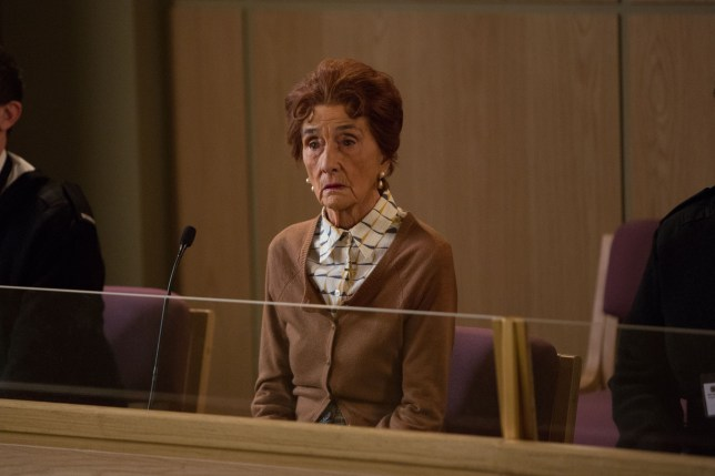 WARNING: Embargoed for publication until 05/05/2015 - Programme Name: EastEnders - TX: 14/05/2015 - Episode: 5067 (No. n/a) - Picture Shows: Dot sits in the dock.  Dot Branning (JUNE BROWN) - (C) BBC - Photographer: Jack Barnes