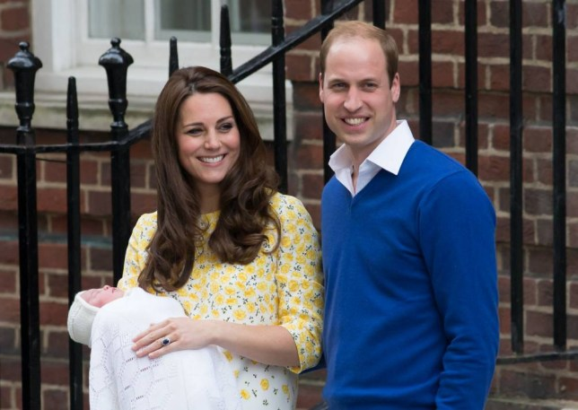 The Duke and Duchess of Cambridge outside the Lindo Wing of St Mary's Hospital in London, with their newborn daughter The Princess of Cambridge. PRESS ASSOCIATION Photo. Picture date: Saturday May 2, 2015. See PA story ROYAL Baby. Photo credit should read: Daniel Leal-Olivas/PA Wire