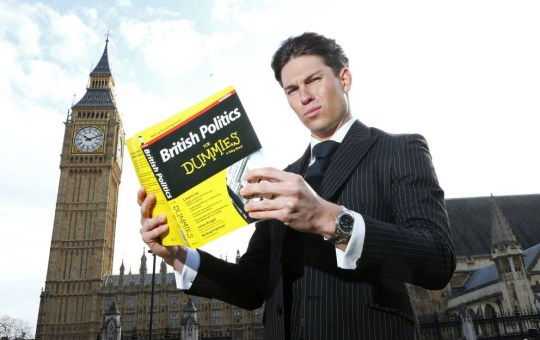 Mandatory Credit: Photo by Joe Pepler/REX_Shutterstock (4588312j)  Joey Essex outside Big Ben and the Houses of Parliament  Joey promoting 'Educating Joey Essex - Election Special' TV programme, London, Britain - 24 Mar 2015