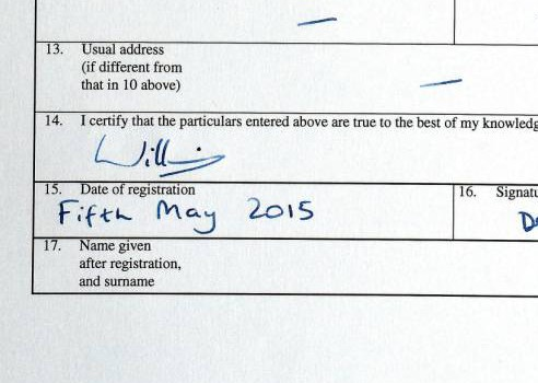 The birth certificate of Princess Charlotte of Cambridge which was signed by her father, the Duke of Cambridge at Kensington Palace today, witnessed by a Registrar from Westminster Register Office. PRESS ASSOCIATION Photo. Picture date: Tuesday May 5, 2015. See PA story ROYAL Baby. Photo credit should read: John Stillwell/PA Wire